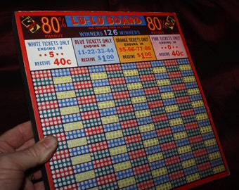 Vintage 1930s LU-LU BOARD 5 Cent Punch Board; Warehouse Find; Never Used, New Old Stock Gambling Punchboard