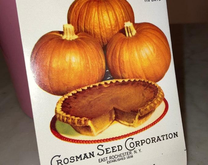 Vintage Crosman Seed Co. Small Sugar Pie PUMPKIN Unused Seed Packet, NOS , Scarce!