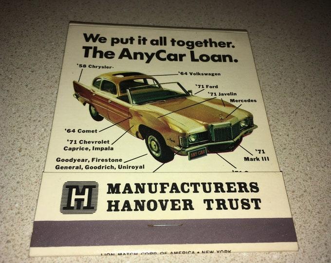 Manufacturers Hanover Trust Oversized Matchbook; Car Loan Matches; Vintage Autos