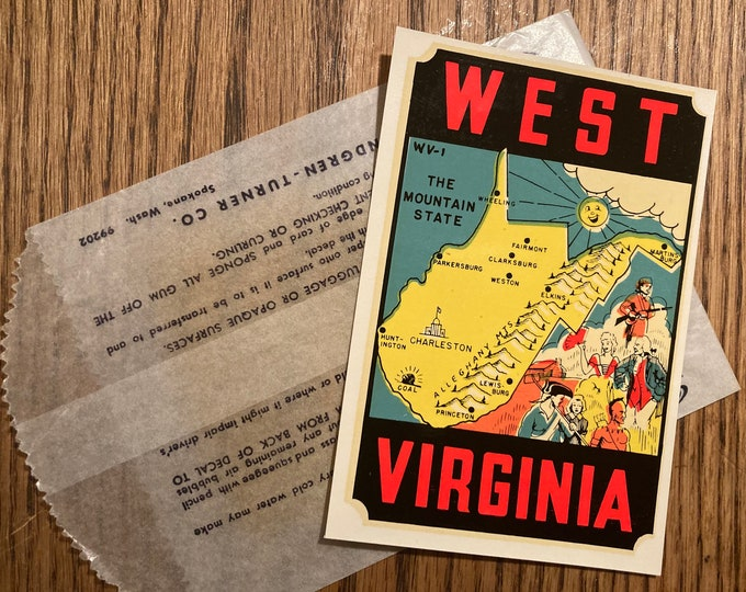 Vintage 1950s, 60s Lindgren Turner Co. Water Transfer Decal; Colorful West Virginia Sticker