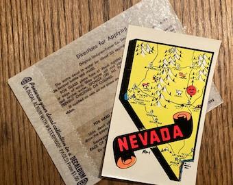 Vintage 1950s, 60s Lindgren Turner Co. Water Slide Decal; Colorful Nevada Souvenir Sticker