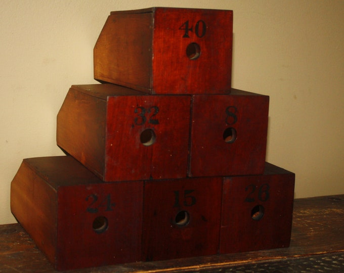 Lot of 6 Fabulous Antique Wooden Drawers, Primitive Boxes with Stenciled Numbers, Original As-Found Patina; 19th Century Decor, Reuse