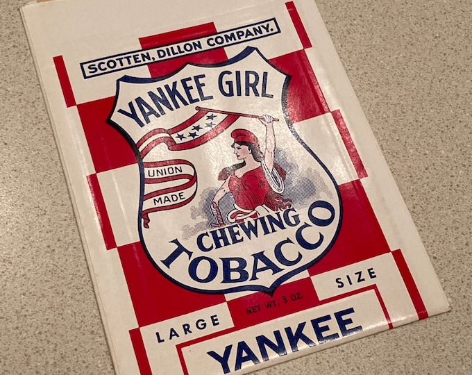 Vintage 1940 Yankee Girl Chewing Tobacco Bag, Pouch; Scotten, Dillon Company; NOS Warehouse Find! Never Used, Mint Condition!