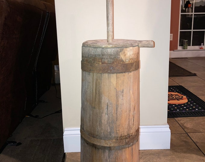 Antique Primitive Staved Wooden Butter Churn in Original Patina, 19th Century Rustic Country Churner
