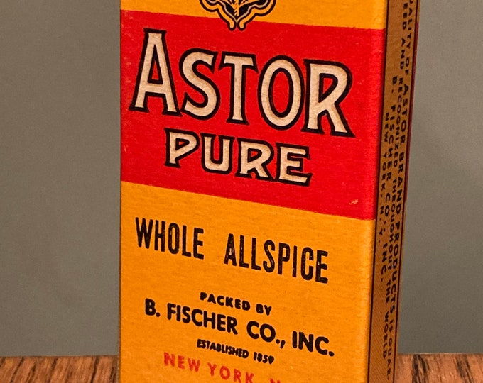 Vintage WWII Era: Astor Brand Pure Whole Allspice, Full Box, Old Stock, Country Store, Warehouse Find Spices