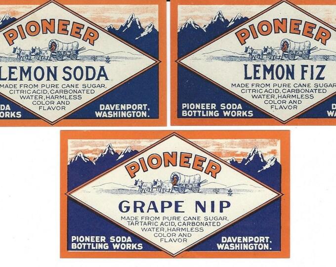 Lot of 3 Vintage NOS Pioneer Soda Pop Bottle Labels: Lemon Soda, Lemon Fiz, Grape Nip; Davenport, Washington; 1920s