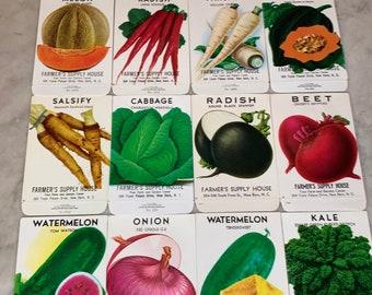 Group of 16 Vintage Unused Fruit & Vegetable Seed Packs; Farmer's Supply House, New Bern, NC;  Old Stock!  Never Used!