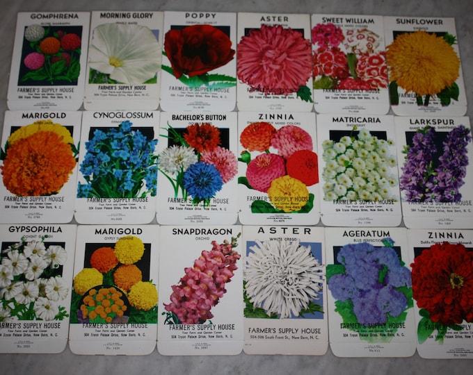 Group of 18 Vintage Unused Flower Seed Packs; Farmer's Supply House, New Bern, NC; Old Stock! Never Used!