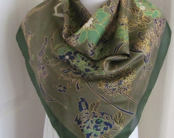 New Charmeuse Silk Scarf Roman Artwork Gold Brown