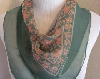 b7c655b23e Cacharel // Beautiful Green Floral Sheer Silk Scarf // 20
