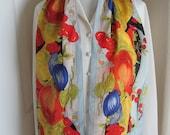 June Critchfield Heintz Lovely Gray Colorful Floral Silk Scarf 11 quot x 52 quot Long