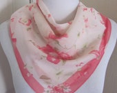 Beautiful Pink Floral Silky Scarf 21 quot Inch 54cm Square