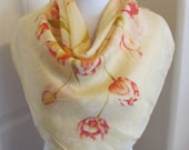 Beautiful Yellow Floral Silk Scarf 30 quot Inch 76cm Square
