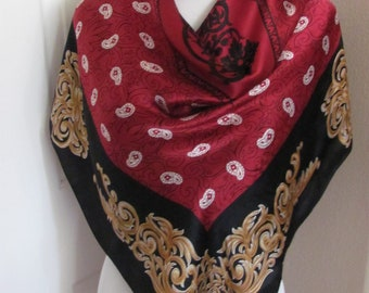 """Beautiful Burgundy Black Large Silk Scarf // 35"""" 90cm Square // Best of the Best"""