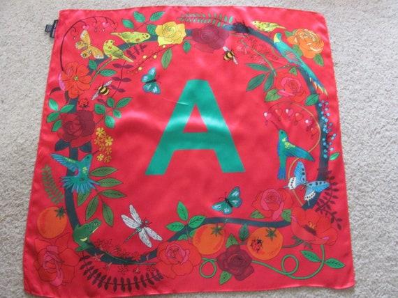 Karen Mabon // Beautiful Red Monogram A Floral Sil