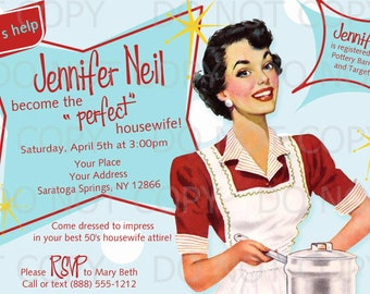 printable diy retro housewife theme bridal shower party invitation brunette girl