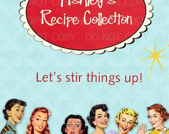 printable retro housewife 1950s bridal shower personalized recipe cards cover sheet