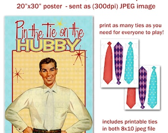 printable diy pin the tie on hubby retro housewife bridal shower party game poster 20 x 30