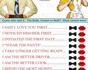 572d8350e8b Printable Retro Housewife themed Bridal Shower Game - He Said She Said  INSTANT DOWNLOAD
