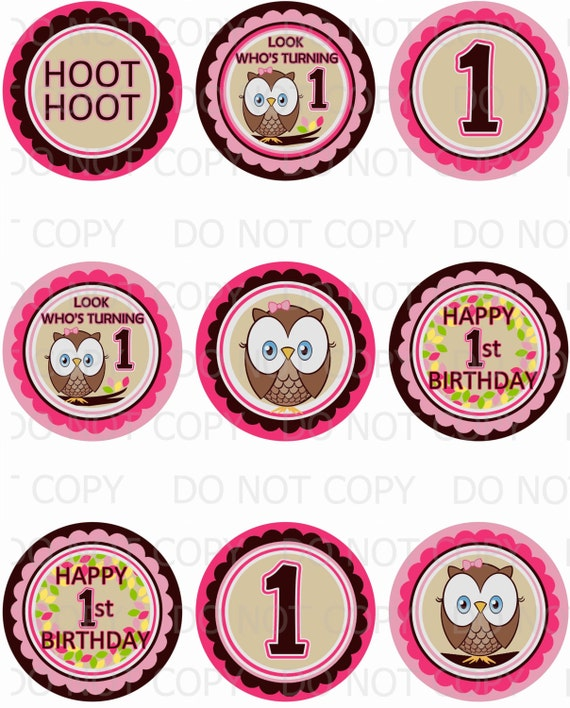Printable Personalized Owl First Birthday Themed 2 5