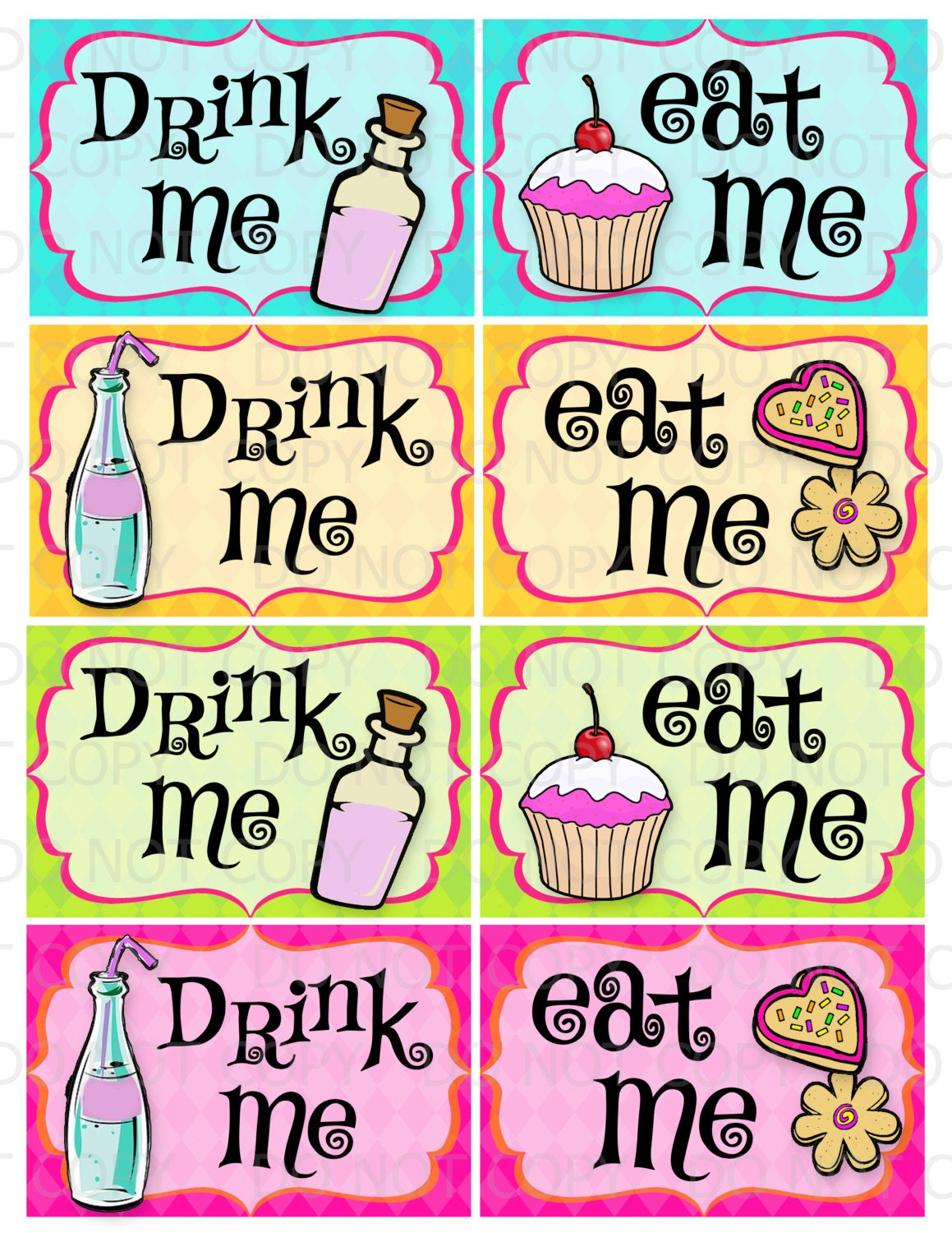 Printable Diy Drink Me And Eat Me Party Labels Etsy