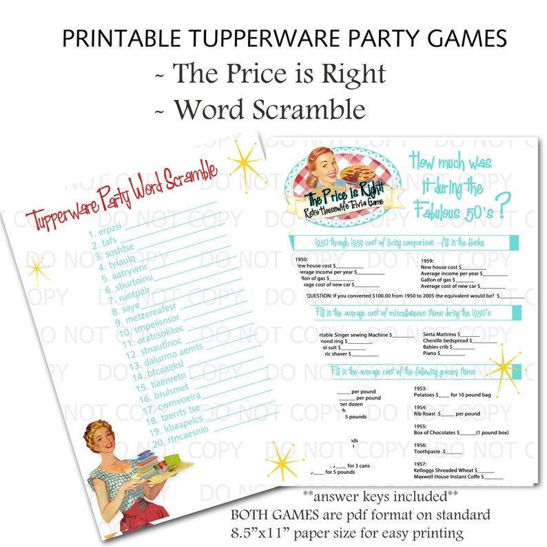 3dc87238642 Printable Retro Housewife themed Tupperware Party Games Word