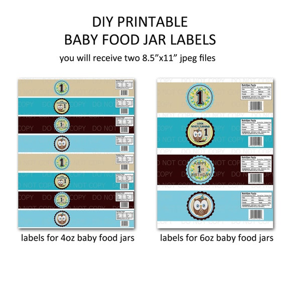 printable diy owl first birthday theme baby food jar labels etsy