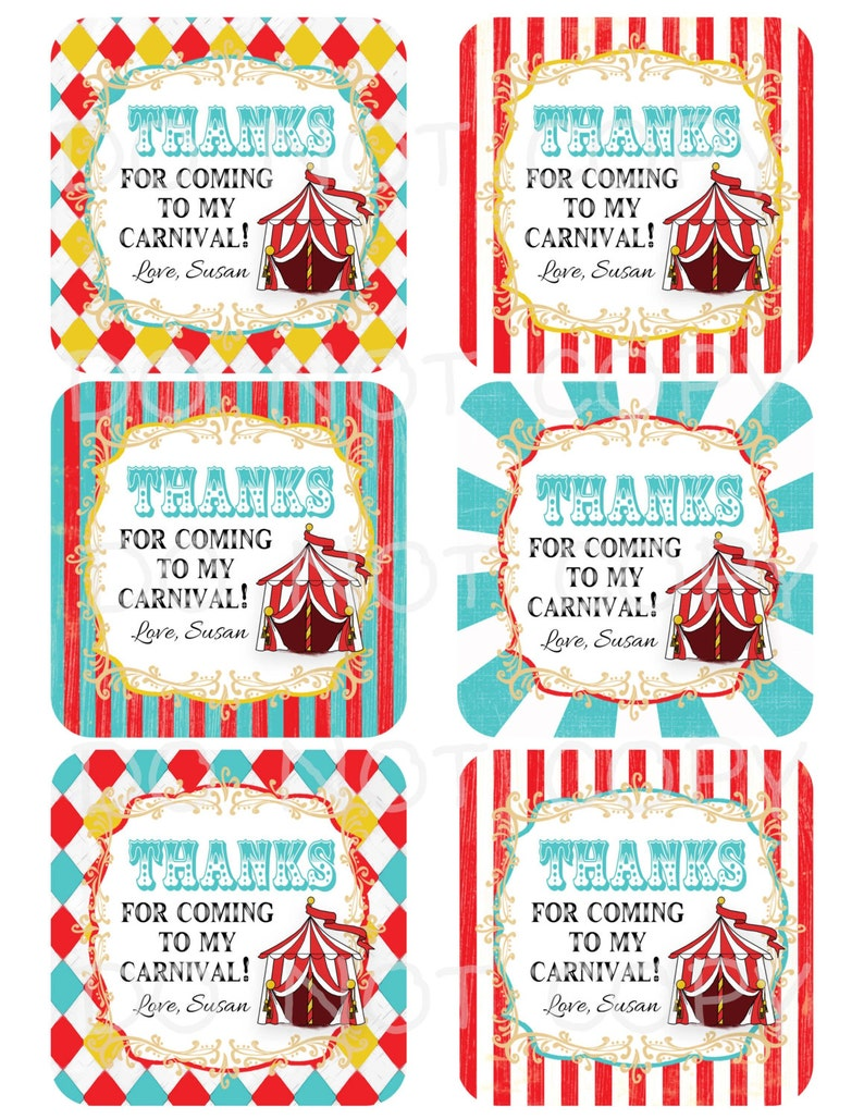 Printable DIY Personalized Circus Carnival Birthday Party