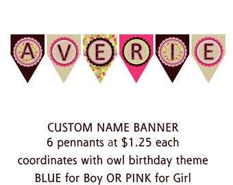Custom name banner - coordinates with owl birthday (up to 6 letters)