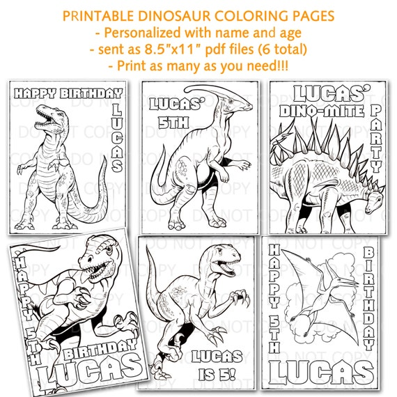 6 printable personalized dinosaur coloring pages