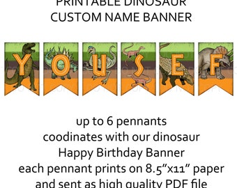 Custom name banner - coordinates with dino dinosaur birthday (up to 6 letters)