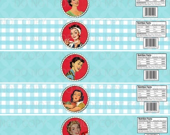 printable diy 1950s retro housewife bridal shower water bottle labels