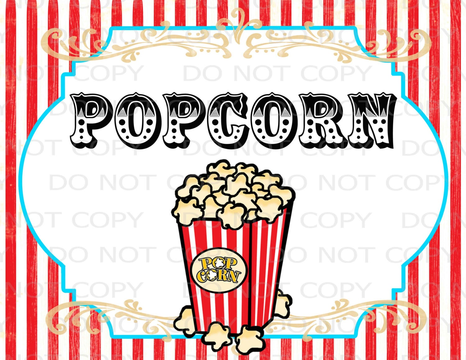 picture relating to Popcorn Sign Printable referred to as Printable Do it yourself Typical Circus Popcorn Desk indicator - 8.5\