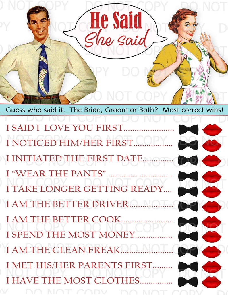 8982f4f2f17 Printable Retro Housewife themed Bridal Shower Game He Said