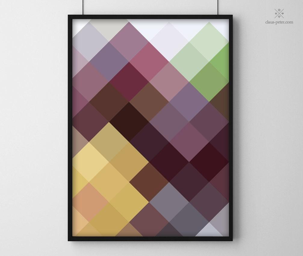 Flavour Print | Pflaume Modern Farbenfroh Früchte Cooles Muster Poster Druck Design Art Alle Größen A4 A3 A2 A1