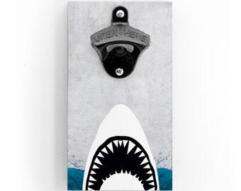 Wandflaschenöffner - Weißer Hai - mit Magnet