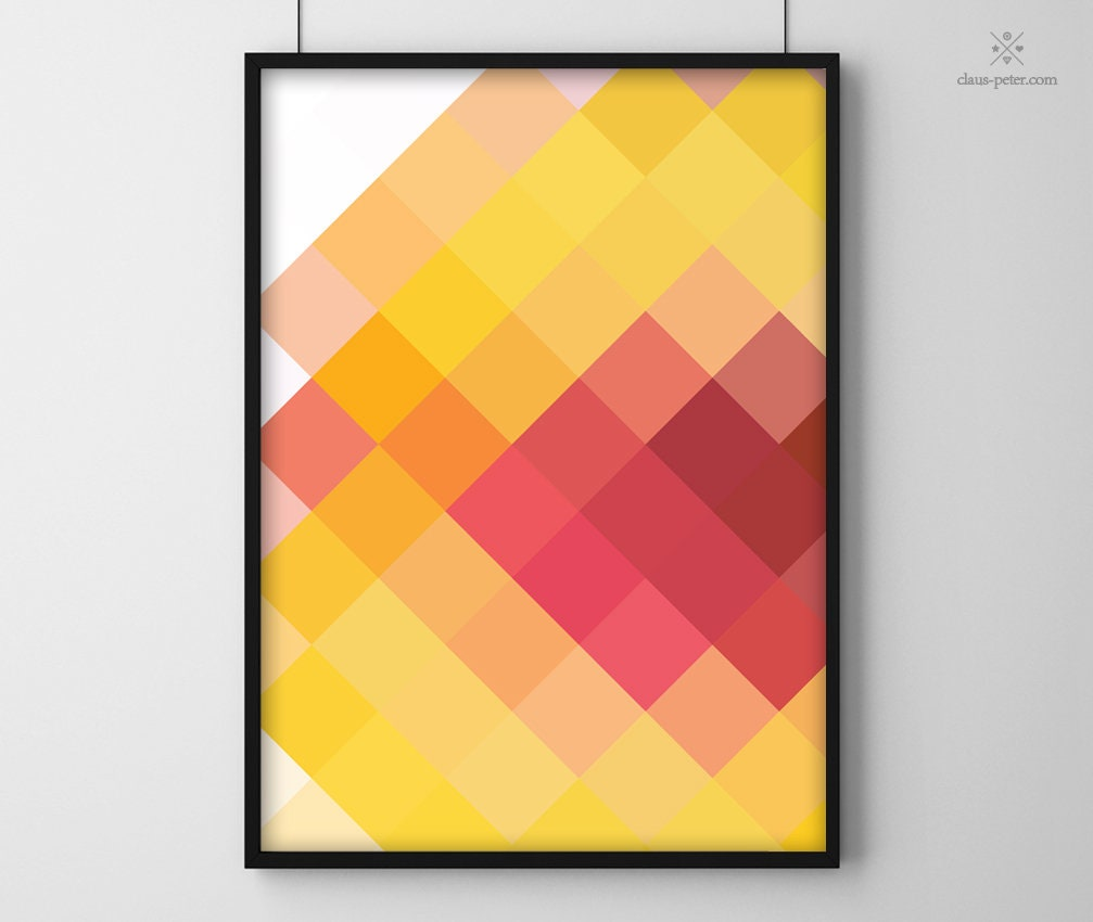 Flavour Print | Pfirsich Modern Farbenfroh Früchte Cooles Muster Poster Druck Design Art Alle Größen A4 A3 A2 A1