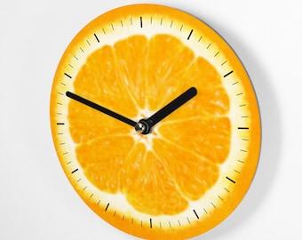 Kleine Wanduhr 15 cm - Orange - Fruit Design - Uhrwerk schleichend