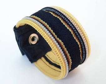 Zipper wristband, striped yellow, navy blue, orange, recycled zipper, snap button - eco-responsible, ecofriendly wristband, upcycled zip