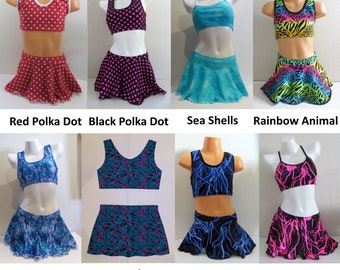e18128e71c LeoLines, LLC ™ - PRINT SKIRTED 2-Piece Bathing Suit Made for Transgender  Girls/Women - Child to Adult - Pieces sold separately