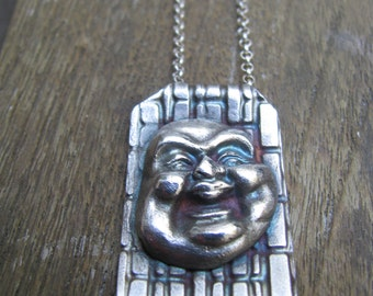 SALE!! Your Personal Handmade Buddha Fine Silver Patina Necklace on a Sterling Silver Chain