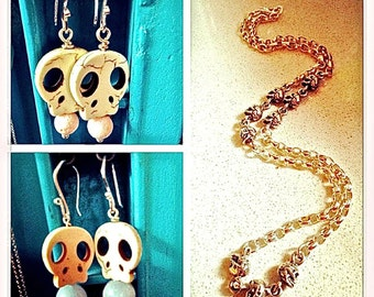 Sterling Silver and Skull Earrings Made of Bone and Gemstones