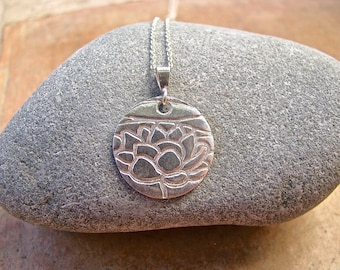 Fine Silver Lotus Flower Handmade Charm on a Sterling Silver Chain