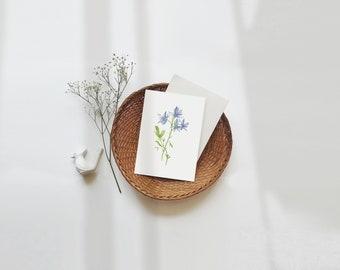 Blue Flower Post card, Larkspur, Printable, Botanicals, ATC, Vintage, Instant Download, Digital, Floral, Clip Art, Wild Flower, birthday mom
