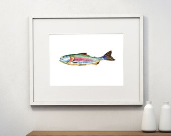 Rainbow Trout, Fish Printable, Instant Download, Watercolor, Wall Art, Dad Gift, Home Art, Fish Clipart, Fishing Gifts,Trout print, postcard