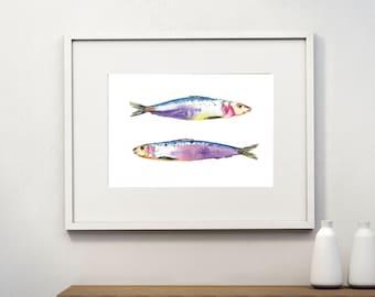 Colorful Fish Postcards, Vintage, Download, Watercolor, Digital, Wall art, ATC, Post Card Printable, Father Day Card, Gift tag, Ephemera
