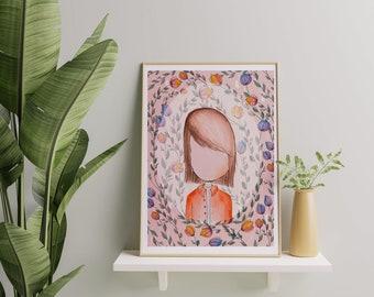 Autumn Print, Digital Print Little Girls Room, Little Girl Wall Art Decor