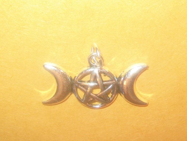 Wholesale Lot Of 10 Mystical Pentacle Pentagram Triple Moon Goddess Charm Pendants