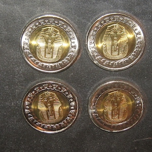 Authentic Lot of 4-23mm UNC Gold Tone Egypt Egyptian Cleopatra Coins