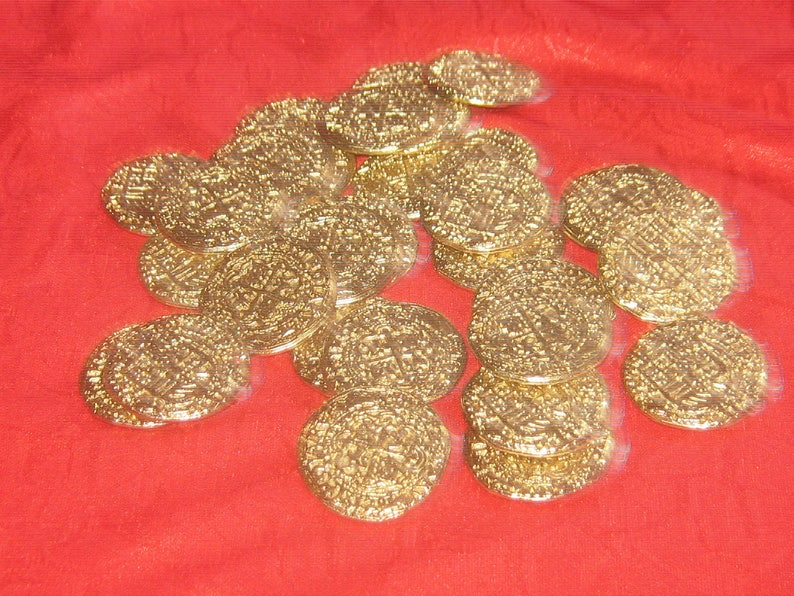 Wholesale Lot of 25 Solid Pewter 32mm GOLD Tone Pirate Coins Free Shipping